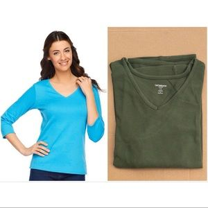 Liz Claiborne Essentials V-Neck 3/4 Sleeve Tee